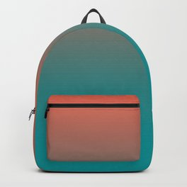 Pantone Living Coral & Viridian Green Gradient Ombre Blend Backpack