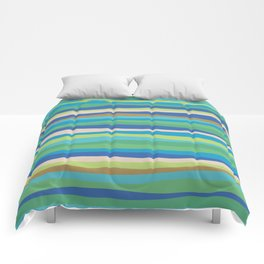 Blue Green Stripes Waves Comforters