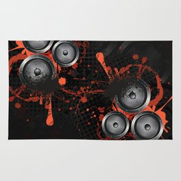 Loudspeaker with splatters and floral Rug