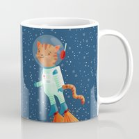 space cat Mugs featuring Space Cat by Stephanie Fizer Coleman