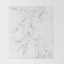 Minimal Wild Roses Line Art Decke