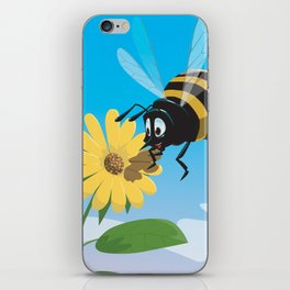 Happy cartoon bee with yellow flower LARGE iPhone Skin