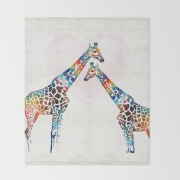Colorful Giraffe Art - I've Got Your Back - By Sharon Cummings Throw Blanket