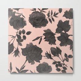 Black and Peach Flowers Pattern Metal Print