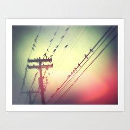 Birds on Wire Art Print