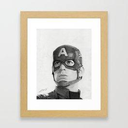 Portrait Drawing of Capt. America Framed Art Print
