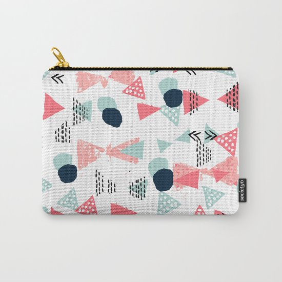 Gender neutral trendy mint navy abstract art for nursery baby college dorm Carry-All Pouch