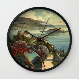 Switzerland Travel Poster Wall Clock