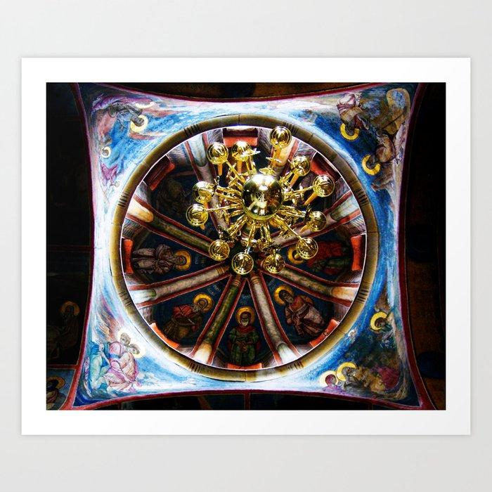 Frescoed Dome and Chandelier, Hilandar Monastery, Mount Athos, Greece Art Print