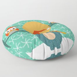 Christmas bear and two little owls Floor Pillow