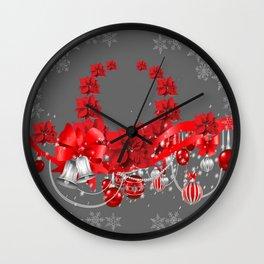 POINSETTIAS FLOWER SNOWFLAKES WREATH DECORATIONS Wall Clock