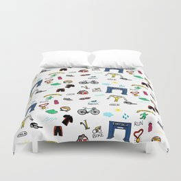 Triathlon Doodles Duvet Cover