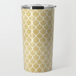 Mermaid Tail Pattern  |  Gold Glitter Travel Mug