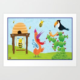 The Bees, The Birds and The Caterpillar Art Print