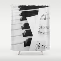 piano Shower Curtains featuring Piano by Miranda Crepeau