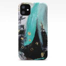 Fairy Dreams: an abstract mixed media piece in black, white, teal, and gold iPhone Case