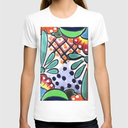 Colorful Talavera, Green Accent, Mexican Tile Design T-shirt