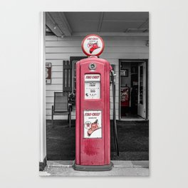 Vintage Route 66 Antique Fire Chief Red Gas Pump Canvas Print