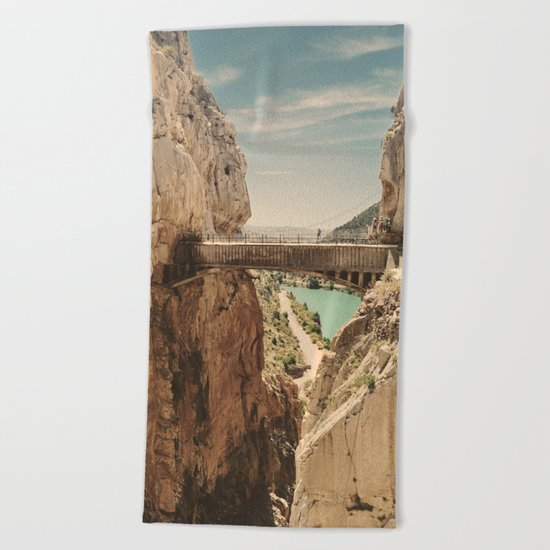 """The most dangerous trail in the world"". El Caminito del Rey Beach Towel"