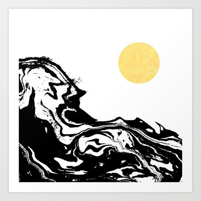 Seffi Abstract Ink Sun Ocean Sea Water Wave Minimalist Black And White With Gold Kunstdrucke