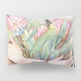 Lena Holding Proteas and Surrounded by Lotus Leaves Pillow Sham