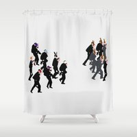hunting Shower Curtains featuring Rabbit hunting by Meet Mareike