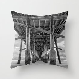 Under Newport Pier in Black and White Throw Pillow