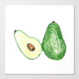 Avocado in watercolor Canvas Print
