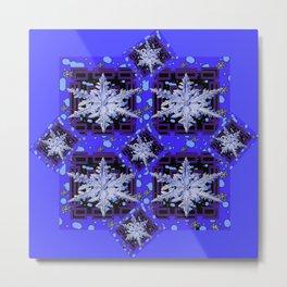 BLUE WINTER HOLIDAY SNOWFLAKES PATTERN ART Metal Print