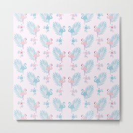 Pretty Pastel Flamingo Chevron Pattern #decor Metal Print