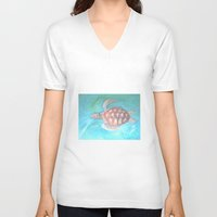 sea turtle V-neck T-shirts featuring Turtle by Victoria Bladen