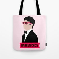darren criss Tote Bags featuring Darren Criss with pink shades! by byebyesally