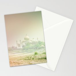 Colors of Dreamy Taj Mahal in the Morning Mist Behind the Yamuna River Stationery Cards