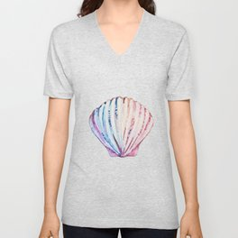 Rainbow ombre clam Unisex V-Neck