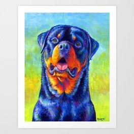 Gentle Guardian Colorful Rainbow Rottweiler Dog Art Print