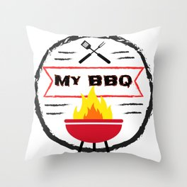 Grilling My BBQ My Rules Bar B Que Throw Pillow
