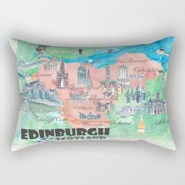 Edinburgh Scotland Illustrated Travel Poster Favorite Map Rectangular Pillow