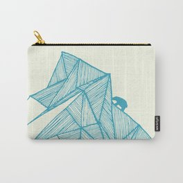 Tiny polar bear on iceberg in teal on gold geometric pattern Carry-All Pouch