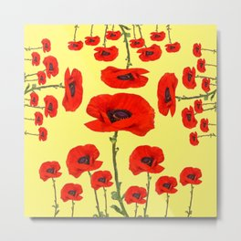 POPPY PIZZA RED-ORANGE  FLORAL DESIGN ON YELLOW ART Metal Print