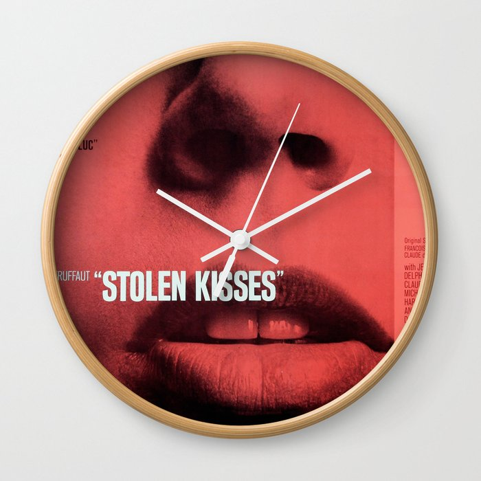 Vintage French Film Poster Stolen Kisses 1968 Wall Clock By Rossgilmore