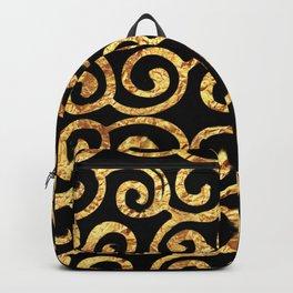 Gold Swirls on Black Background Backpack