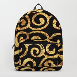 Gold Swirls on Black Background Backpack