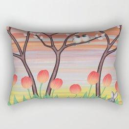 chickadees, pussy willow, & tulips Rectangular Pillow