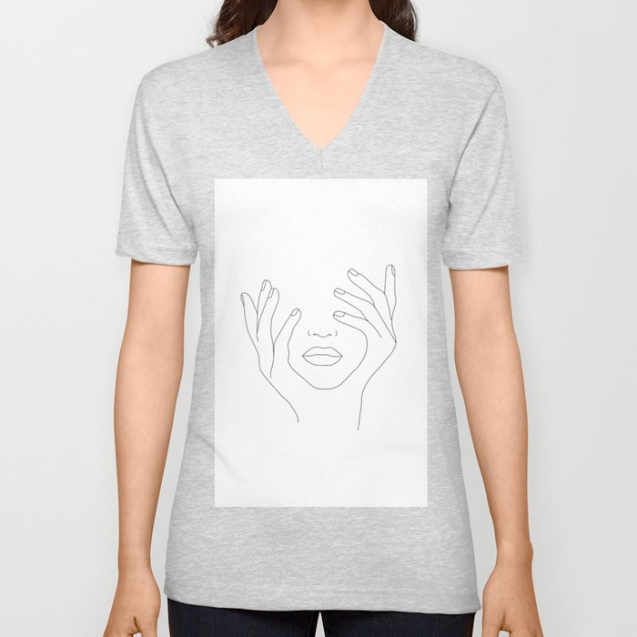 Minimal Line Art Woman with Hands on Face Unisex V-Neck