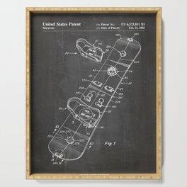 Snowboard Patent - Snowboaring Art - Black Chalkboard Serving Tray