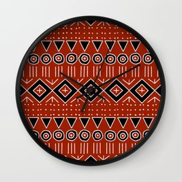 Mudcloth Style 2 in Red and Black Wall Clock