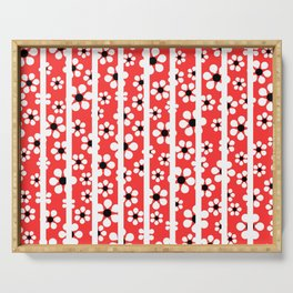 Striped Daisies - coral - more colors Serving Tray