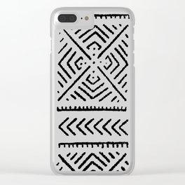 Line Mud Cloth // Light Grey Clear iPhone Case