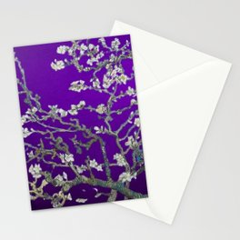 Vincent van Gogh Blossoming Almond Tree (Almond Blossoms) Amethyst Sky Stationery Cards