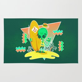 Alien Surfer Nineties Pattern Rug